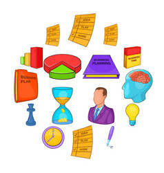 business planning set cartoon style vector image