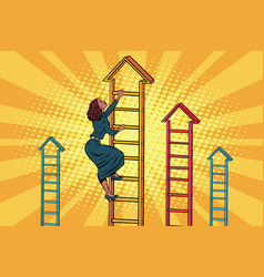 Businesswoman climbing up the business ladder vector