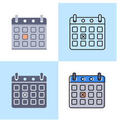 Calendar with day marked icon set in flat and line vector