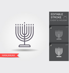 candle holder for hanukkah line icon with vector image