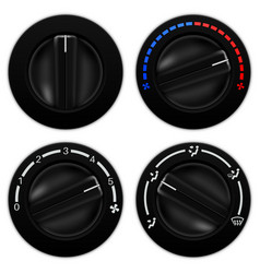 Car air conditioning black round selectors vector