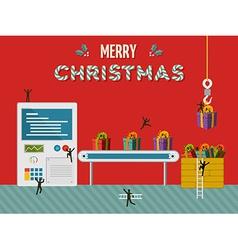 Christmas gift creative factory card vector