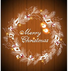 Christmas wreath and decorations vector
