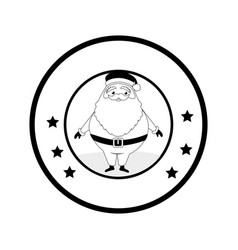 circular emblem with monochrome santa claus vector image