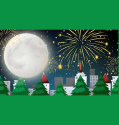 City scene with celebration fireworks view from vector