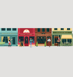 city shopping retro street store buildings and vector image