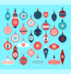 collection beautiful baubles and decorations vector image