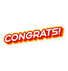 congrats red and yellow text effect template vector image