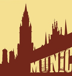 Contour of the building of the city of Munich on a vector