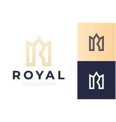 crown letter r logo premium monogram letter r vector image