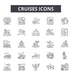 Cruises line icons signs set linear vector