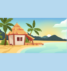 cute bungalow or beach hut on tropical island vector image