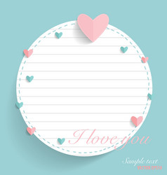 Cute note paper with hearts vector