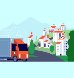 delivery truck in city commercial post fast vector image
