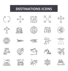 destinations line icons signs set vector image