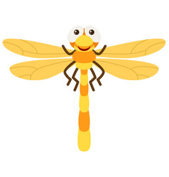 Dragonfly with yellow wings vector