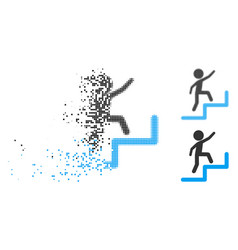 Dust dotted halftone child steps upstairs icon vector