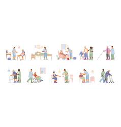 Elderly care flat set vector