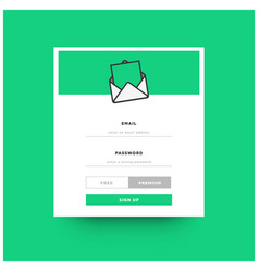 email news letter sign up box ui design vector image