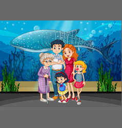 Family in aquarium scene vector
