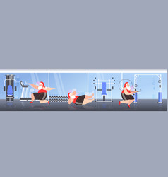 Fat santa claus doing cardio exercises overweight vector