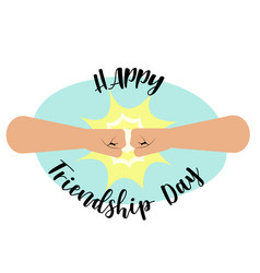 Fist bump happy friendship day concept vector
