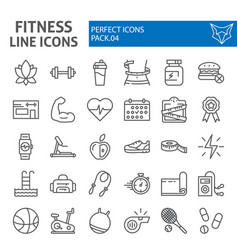 Fitness line icon set sport symbols collection vector