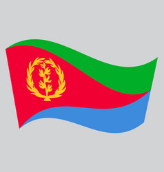 Flag of eritrea waving on gray background vector