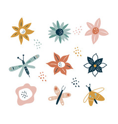 flower and branch collection floral flowers vector image