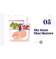 Frozen food website landing page tiny male vector