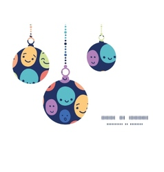 Funny faces Christmas ornaments silhouettes vector