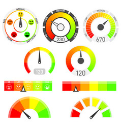 gauges set credit score indicators vector image