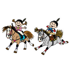 Girl and boy riding ponies vector