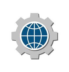 global setting flat icon vector image
