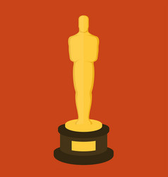 Golden award statuette on red background flat vector