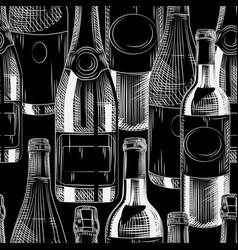 Hand drawn wine bottles seamless pattern on black vector