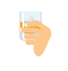 hand holding whiskey and ice fingers and glass of vector image