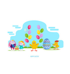 hares keep basket with an easter egg chick vector image