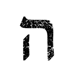 Hebrew letter Hei Shabby black font The Hebrew vector