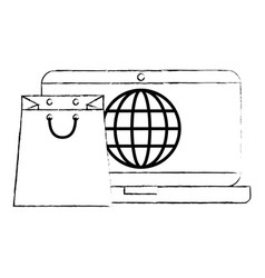 laptop with shopping bag and planet vector image