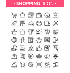 line thin shopping icons vector image