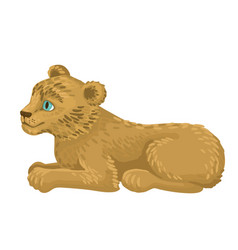 Lion cub lie flat cartoon style vector