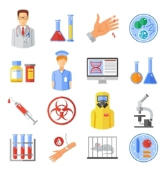 Microbiology Icons Set vector image