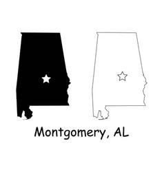 Montgomery alabama al state border usa map vector