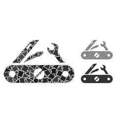 Multitool knife composition icon rugged items vector