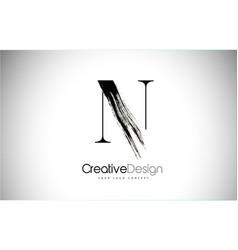 N brush stroke letter logo design black paint vector