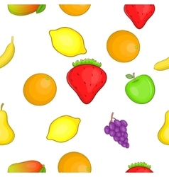 Orchard fruits pattern cartoon style vector
