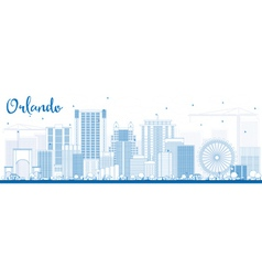 Outline Orlando Skyline with Blue Buildings vector