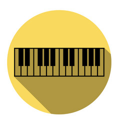 piano keyboard sign flat black icon with vector image