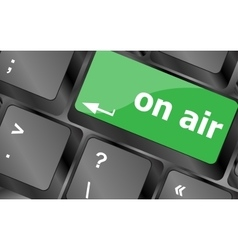 Radio on air button on computer keyboard business vector image